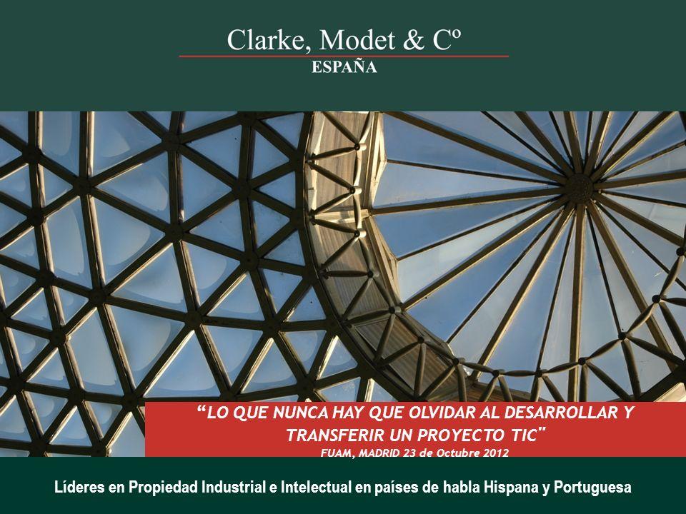 PRESENTACIÓN La Propiedad Industrial e Intelectual en las empresas Biotecnológicas  Clarke, Modet & Cº 2007.