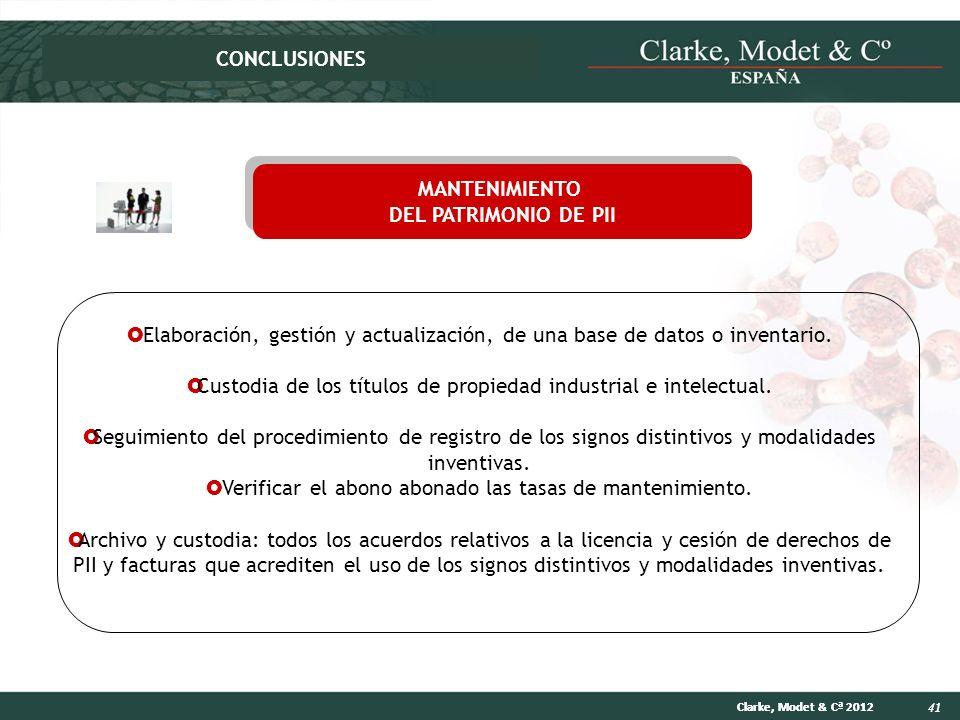 CONCLUSIONES MANTENIMIENTO DEL PATRIMONIO DE PII
