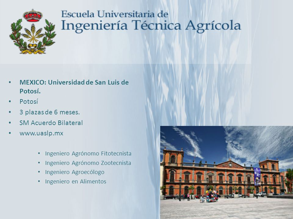 MEXICO: Universidad de San Luis de Potosí. Potosí 3 plazas de 6 meses.