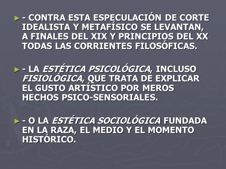 - CONTRA ESTA ESPECULACIÓN DE CORTE IDEALISTA Y METAFÍSICO SE LEVANTAN, A FINALES DEL XIX Y PRINCIPIOS DEL XX TODAS LAS CORRIENTES FILOSÓFICAS.