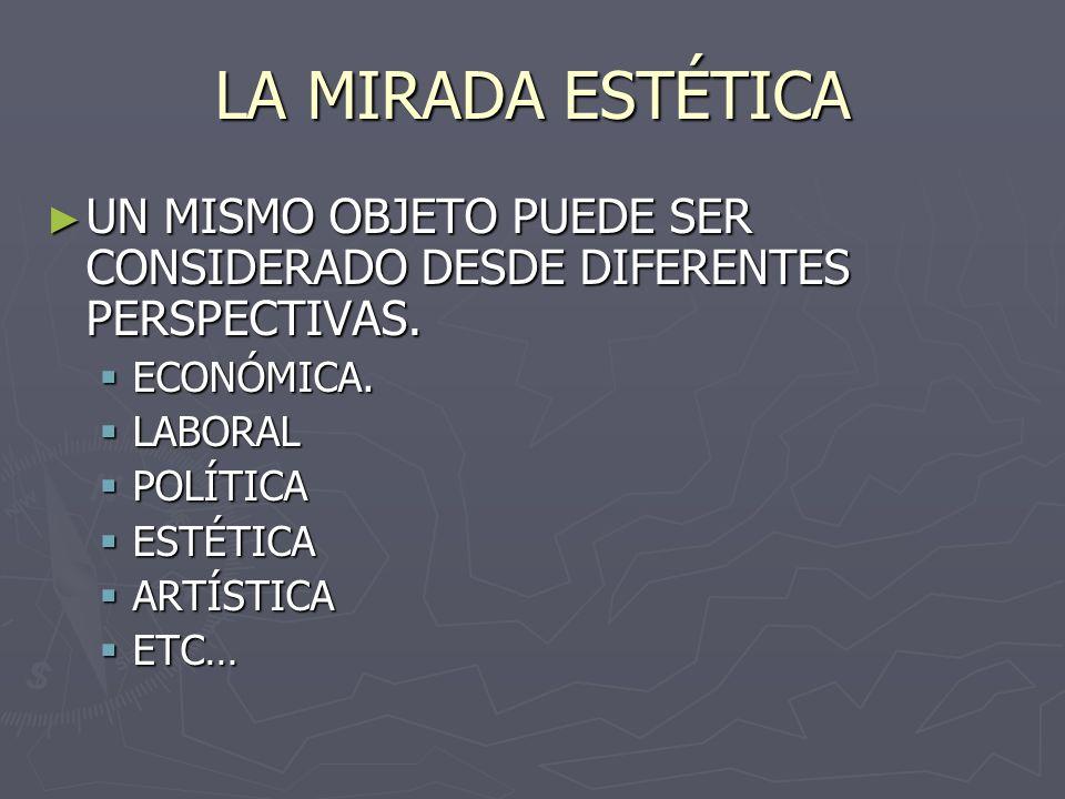 LA MIRADA ESTÉTICA UN MISMO OBJETO PUEDE SER CONSIDERADO DESDE DIFERENTES PERSPECTIVAS. ECONÓMICA.