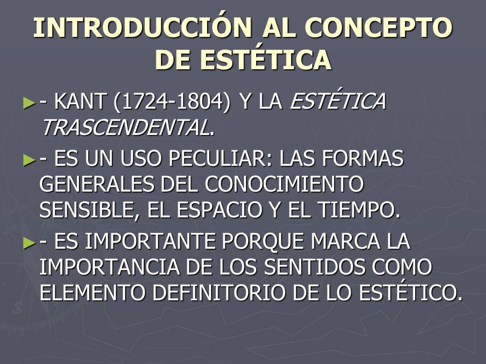 INTRODUCCIÓN AL CONCEPTO DE ESTÉTICA