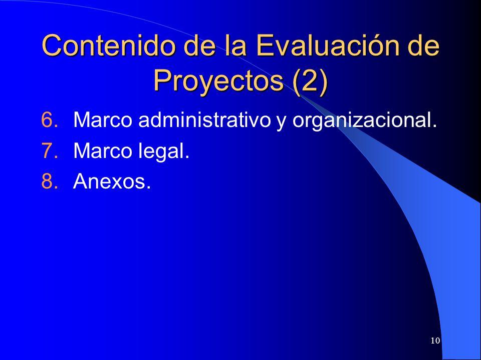 Contenido de la Evaluación de Proyectos (2)