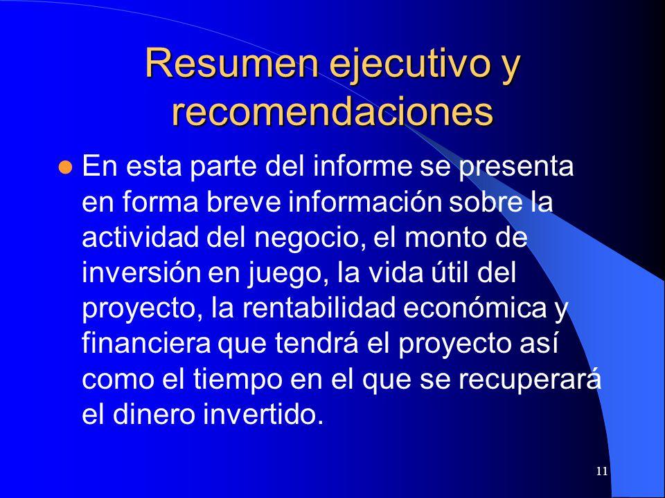 Resumen ejecutivo y recomendaciones