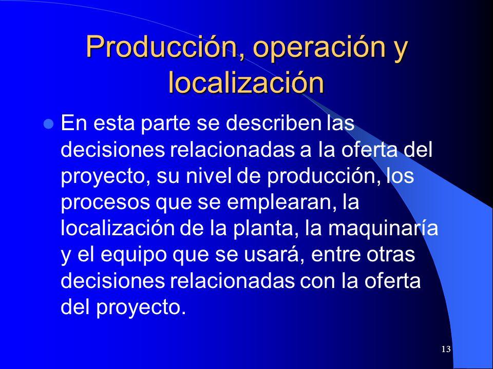 Producción, operación y localización