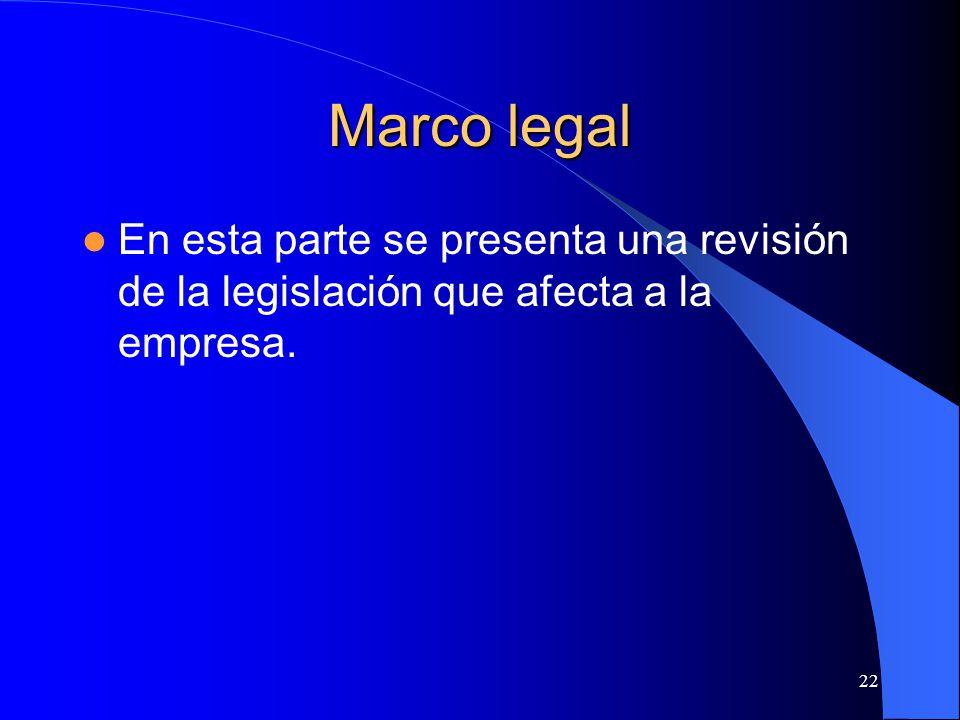Marco legal En esta parte se presenta una revisión de la legislación que afecta a la empresa.