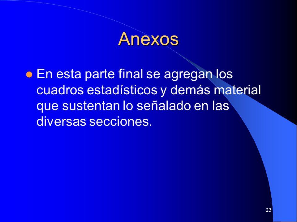 Anexos En esta parte final se agregan los cuadros estadísticos y demás material que sustentan lo señalado en las diversas secciones.