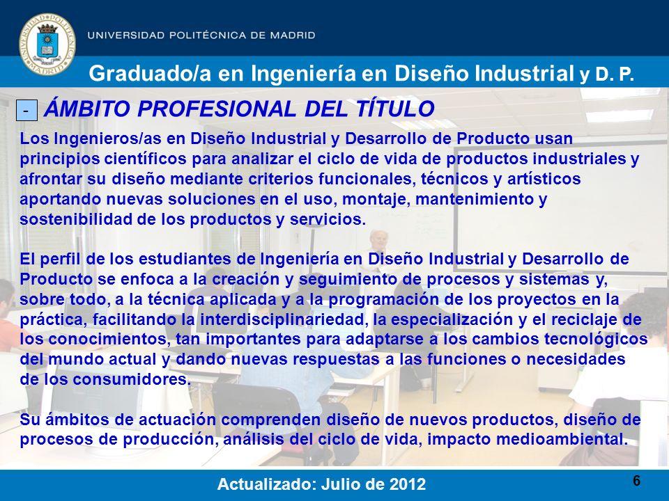 Graduado/a en Ingeniería en Diseño Industrial y D. P.