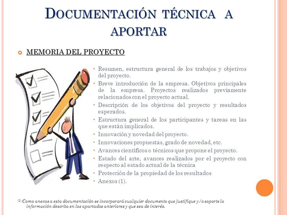 Documentación técnica a aportar