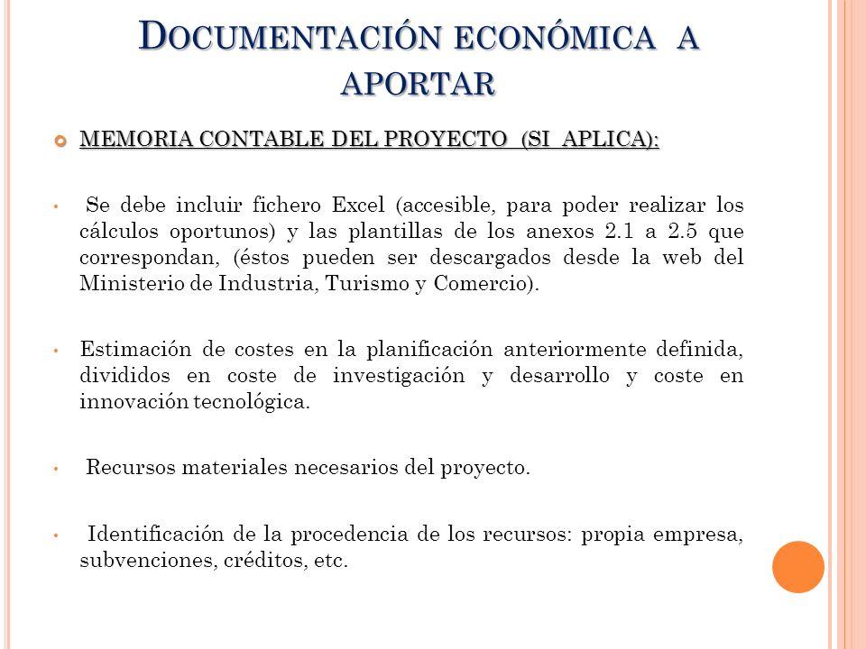 Documentación económica a aportar