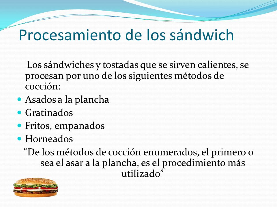 Procesamiento de los sándwich