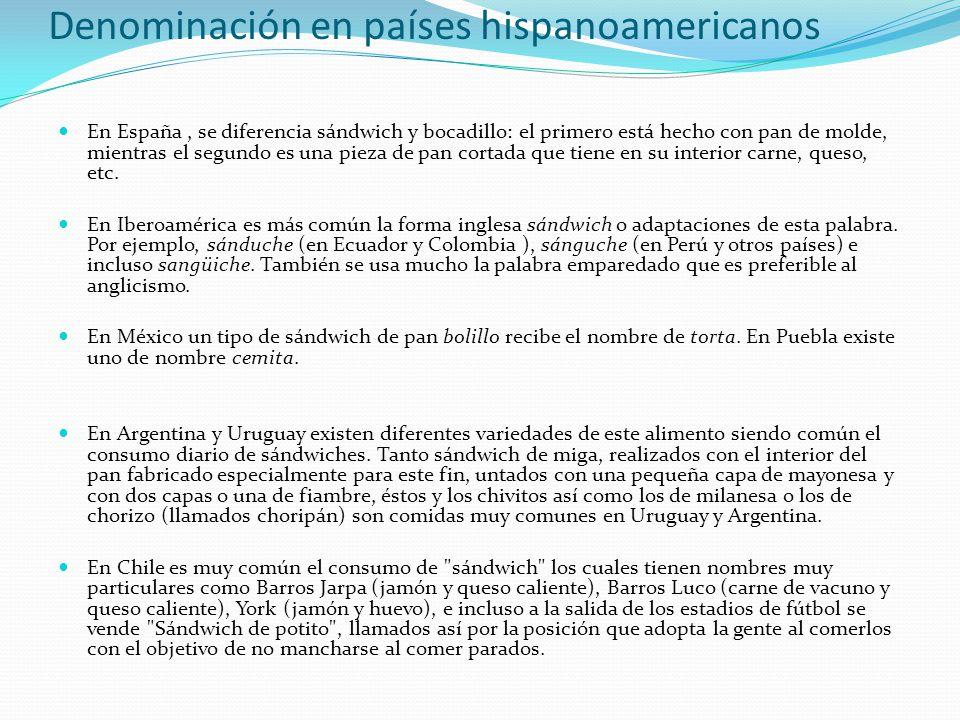 Denominación en países hispanoamericanos
