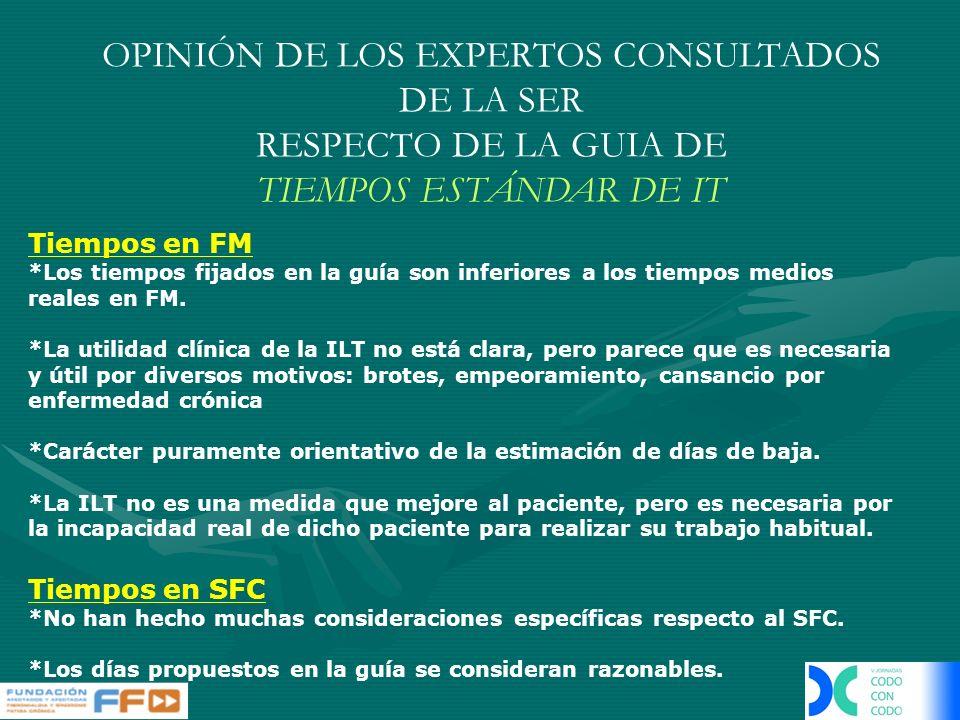 OPINIÓN DE LOS EXPERTOS CONSULTADOS DE LA SER