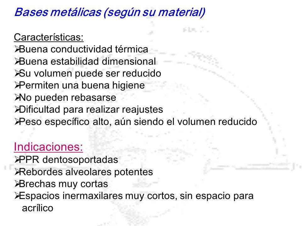 Bases metálicas (según su material)