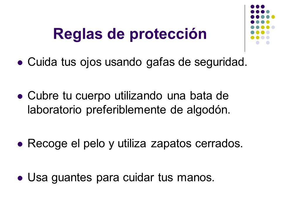 Reglas de protección Cuida tus ojos usando gafas de seguridad.