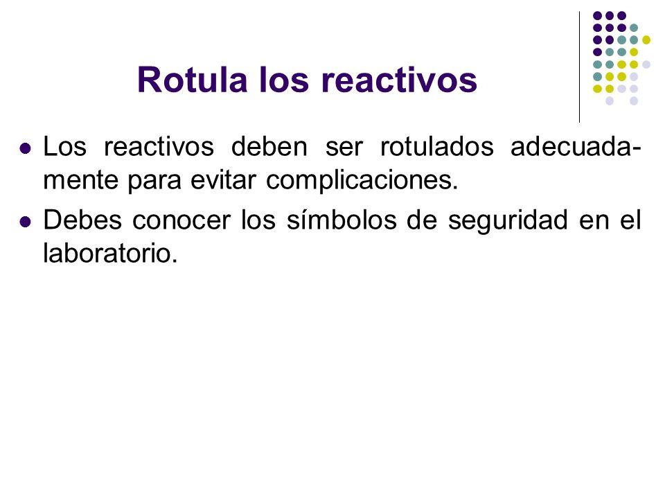 Rotula los reactivos Los reactivos deben ser rotulados adecuada-mente para evitar complicaciones.