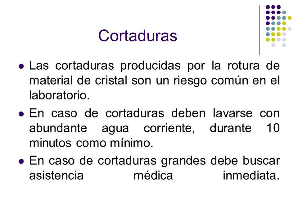 Cortaduras Las cortaduras producidas por la rotura de material de cristal son un riesgo común en el laboratorio.
