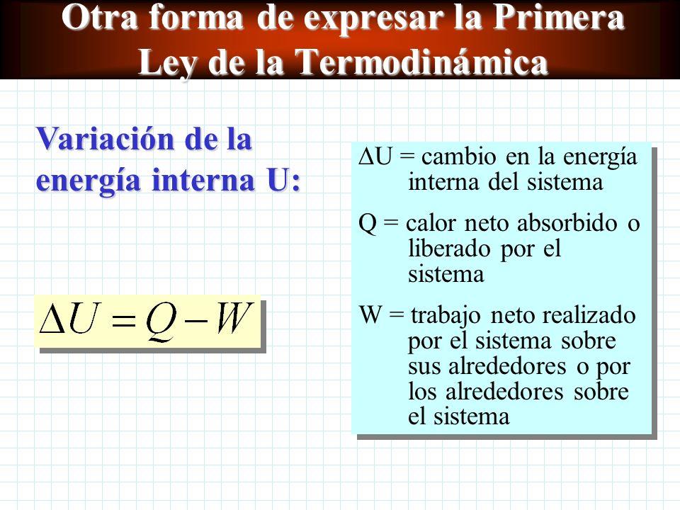 Otra forma de expresar la Primera Ley de la Termodinámica