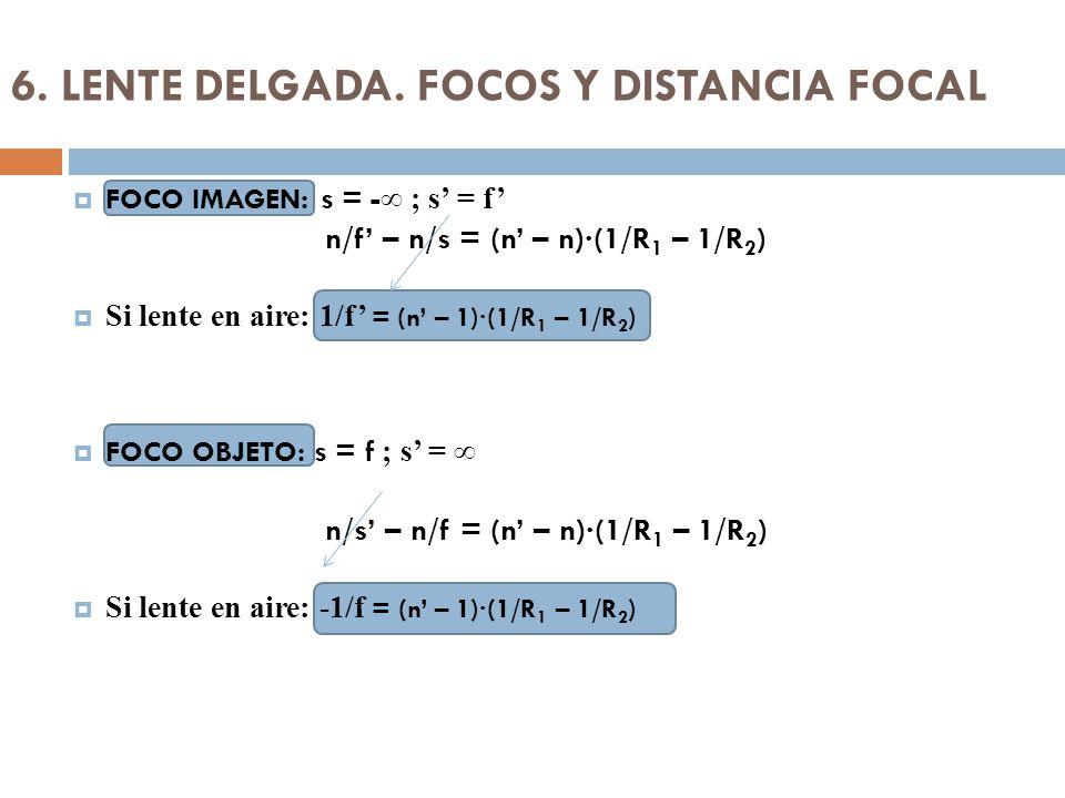 6. LENTE DELGADA. FOCOS Y DISTANCIA FOCAL