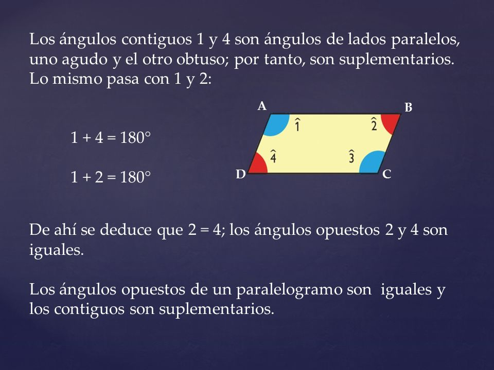 De ahí se deduce que 2 = 4; los ángulos opuestos 2 y 4 son iguales.