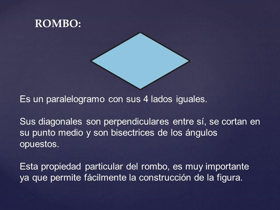 ROMBO: Es un paralelogramo con sus 4 lados iguales.