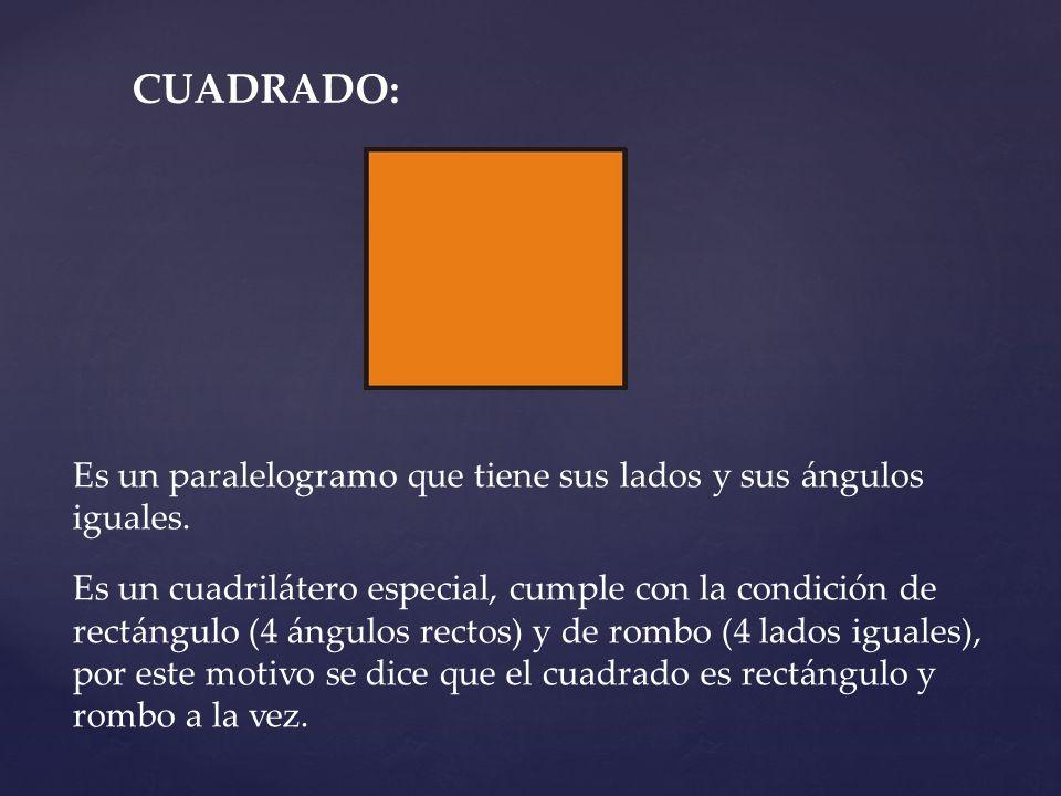 CUADRADO: Es un paralelogramo que tiene sus lados y sus ángulos iguales.