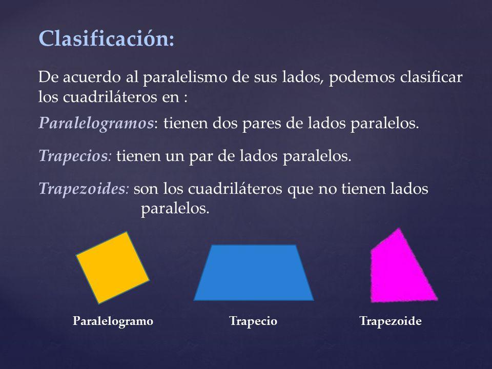 Clasificación: De acuerdo al paralelismo de sus lados, podemos clasificar los cuadriláteros en :