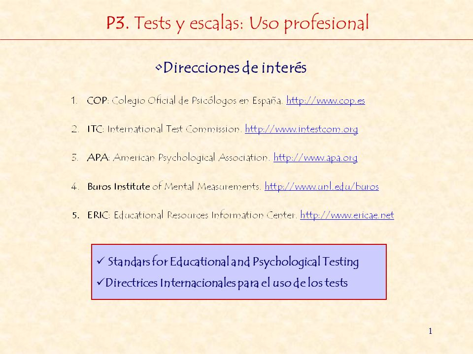 P3. Tests y escalas: Uso profesional