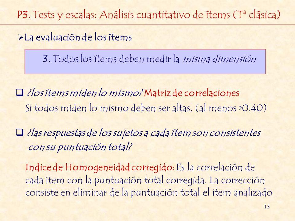 P3. Tests y escalas: Análisis cuantitativo de ítems (Tª clásica)