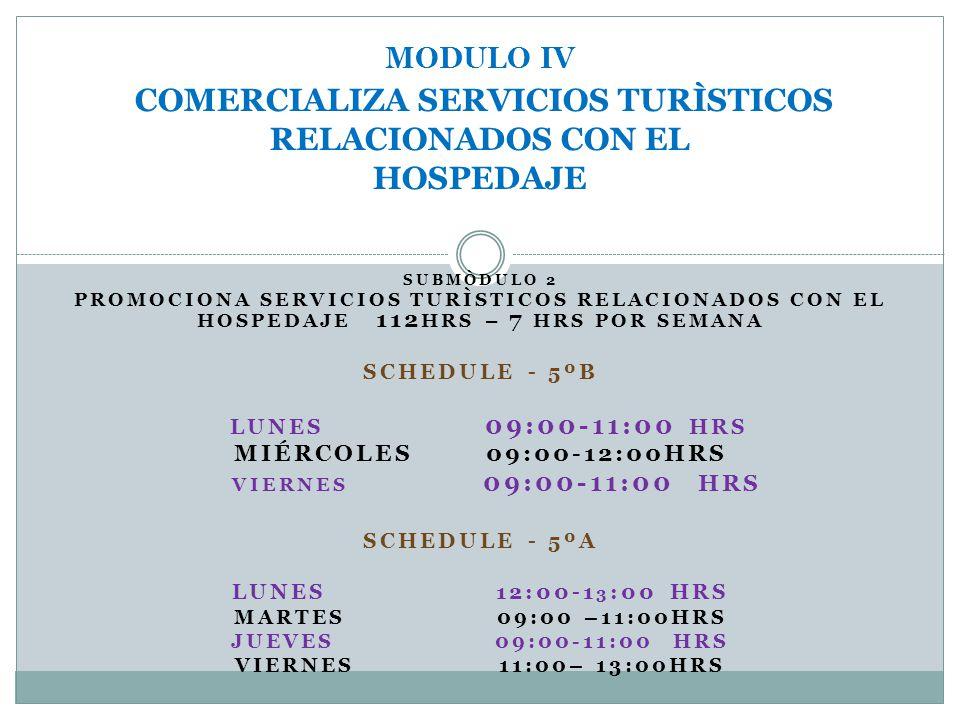 MODULO IV COMERCIALIZA SERVICIOS TURÌSTICOS RELACIONADOS CON EL HOSPEDAJE