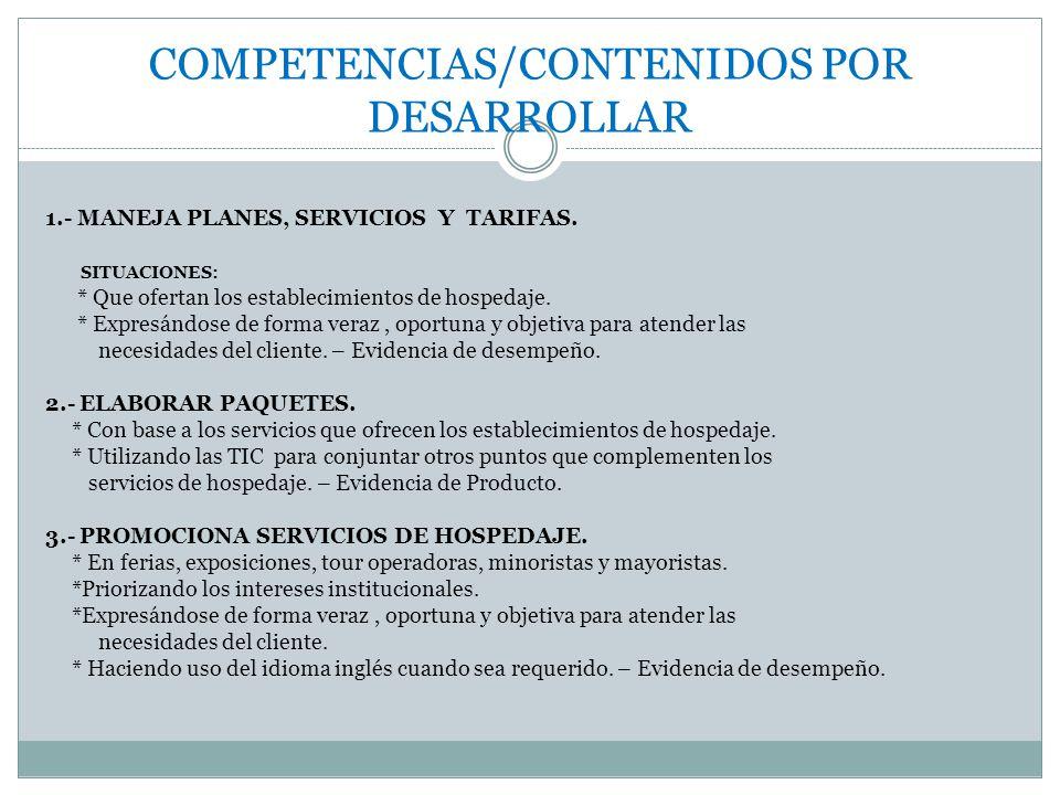 COMPETENCIAS/CONTENIDOS POR DESARROLLAR