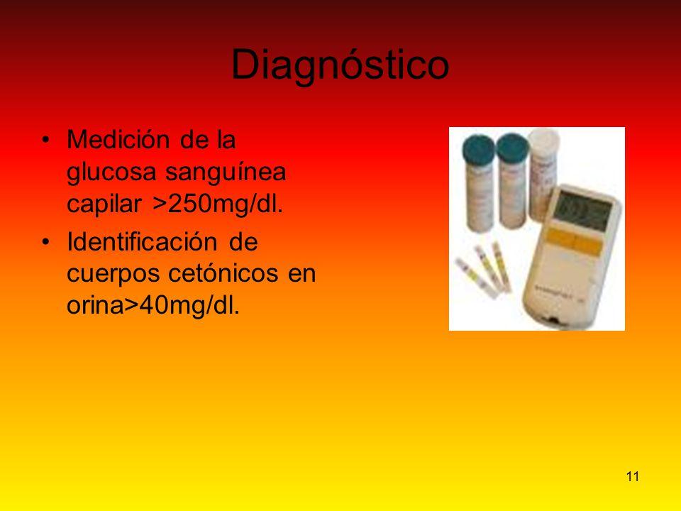 Diagnóstico Medición de la glucosa sanguínea capilar >250mg/dl.