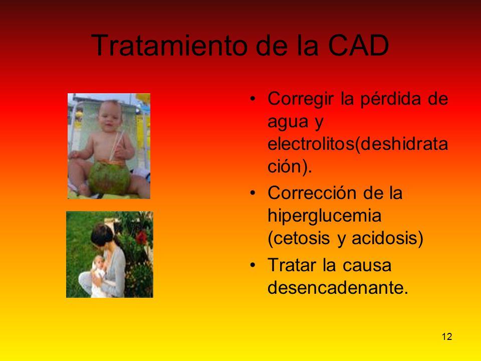 Tratamiento de la CAD Corregir la pérdida de agua y electrolitos(deshidratación). Corrección de la hiperglucemia (cetosis y acidosis)
