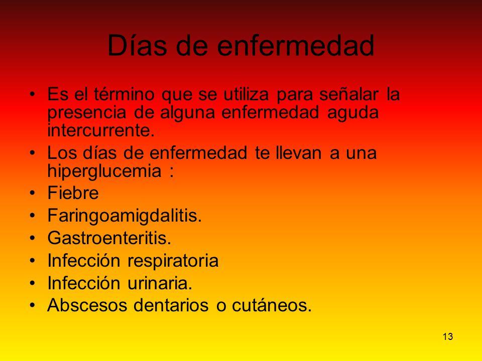 Días de enfermedad Es el término que se utiliza para señalar la presencia de alguna enfermedad aguda intercurrente.