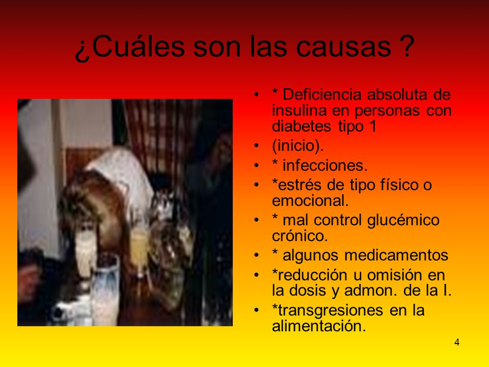 ¿Cuáles son las causas * Deficiencia absoluta de insulina en personas con diabetes tipo 1. (inicio).