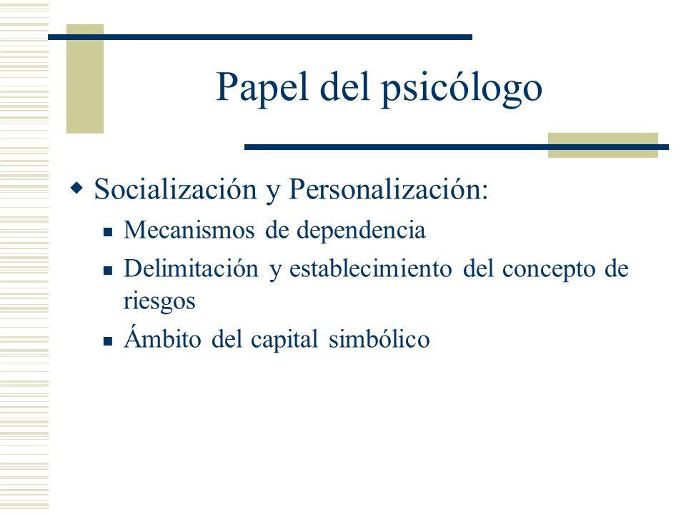 Papel del psicólogo Socialización y Personalización: