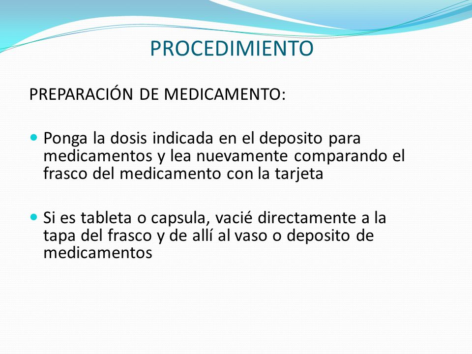 PROCEDIMIENTO PREPARACIÓN DE MEDICAMENTO: