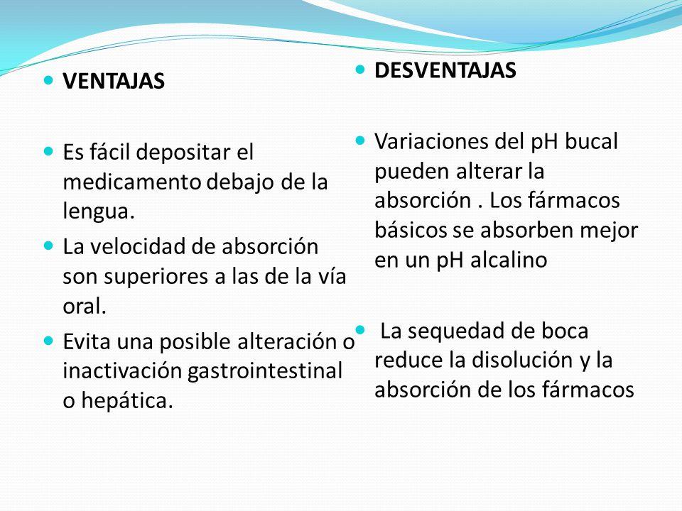 DESVENTAJAS Variaciones del pH bucal pueden alterar la absorción . Los fármacos básicos se absorben mejor en un pH alcalino.