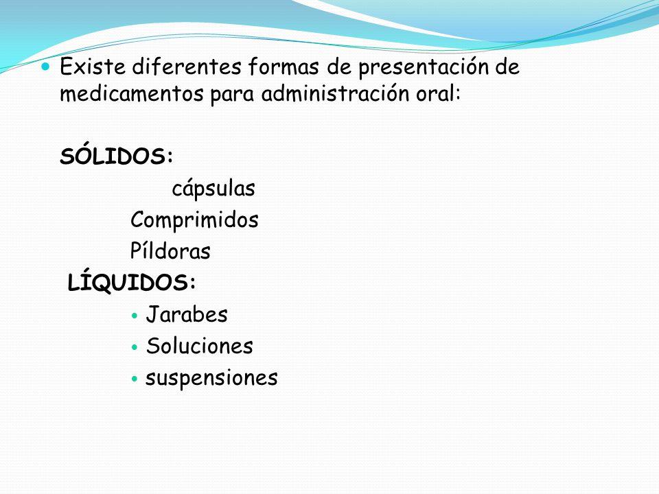 Existe diferentes formas de presentación de medicamentos para administración oral: