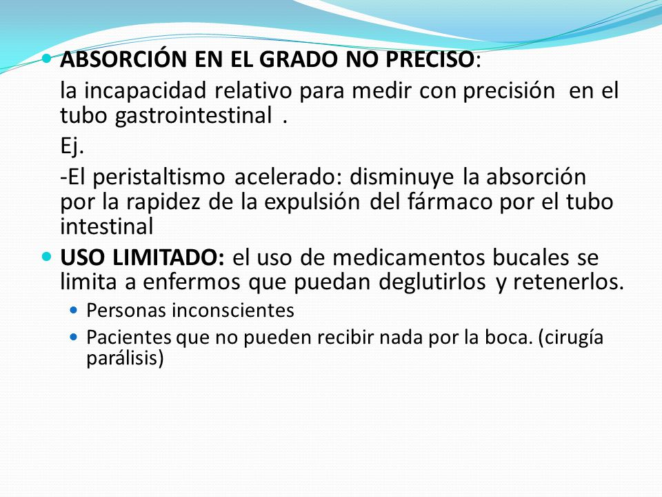 ABSORCIÓN EN EL GRADO NO PRECISO: