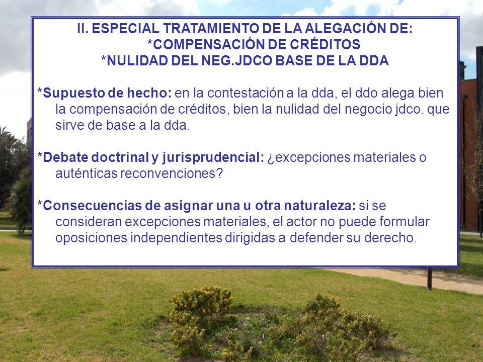 II. ESPECIAL TRATAMIENTO DE LA ALEGACIÓN DE: *COMPENSACIÓN DE CRÉDITOS