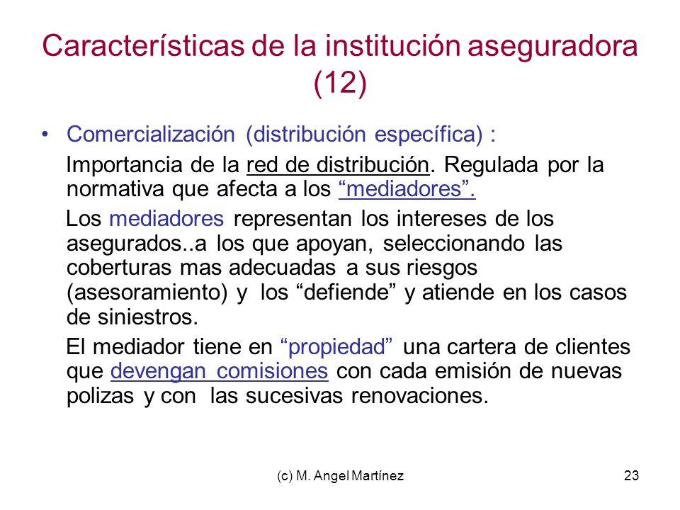 Características de la institución aseguradora (12)