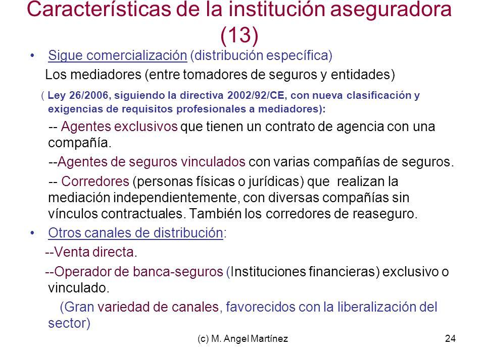 Características de la institución aseguradora (13)