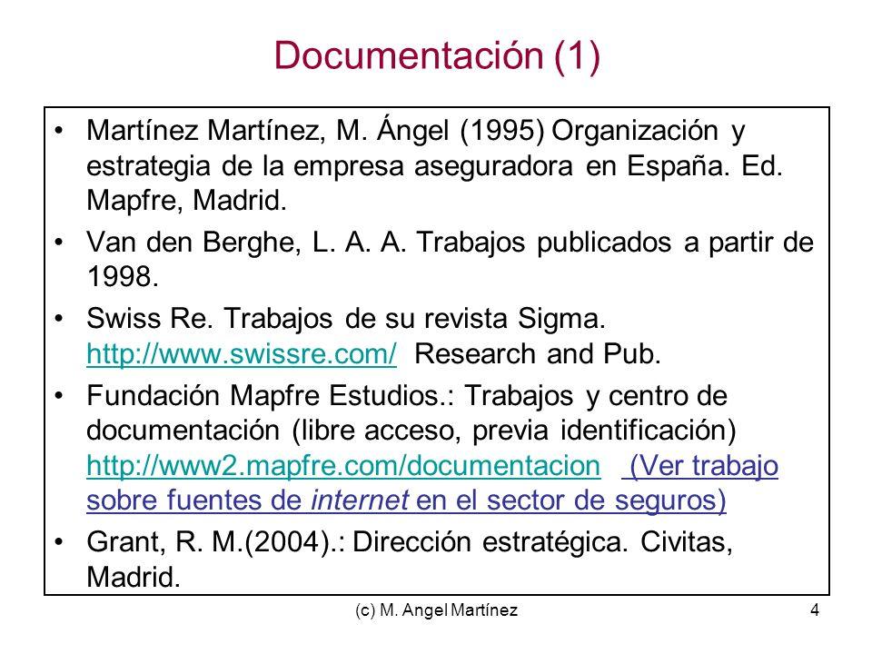 Documentación (1) Martínez Martínez, M. Ángel (1995) Organización y estrategia de la empresa aseguradora en España. Ed. Mapfre, Madrid.