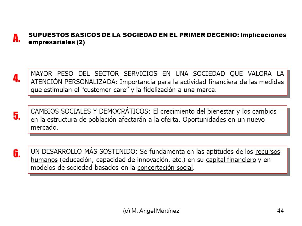 A. SUPUESTOS BASICOS DE LA SOCIEDAD EN EL PRIMER DECENIO: Implicaciones empresariales (2)