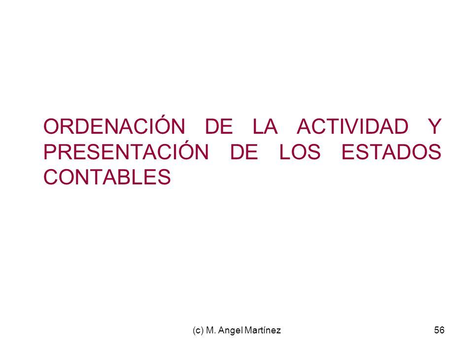 ORDENACIÓN DE LA ACTIVIDAD Y PRESENTACIÓN DE LOS ESTADOS CONTABLES