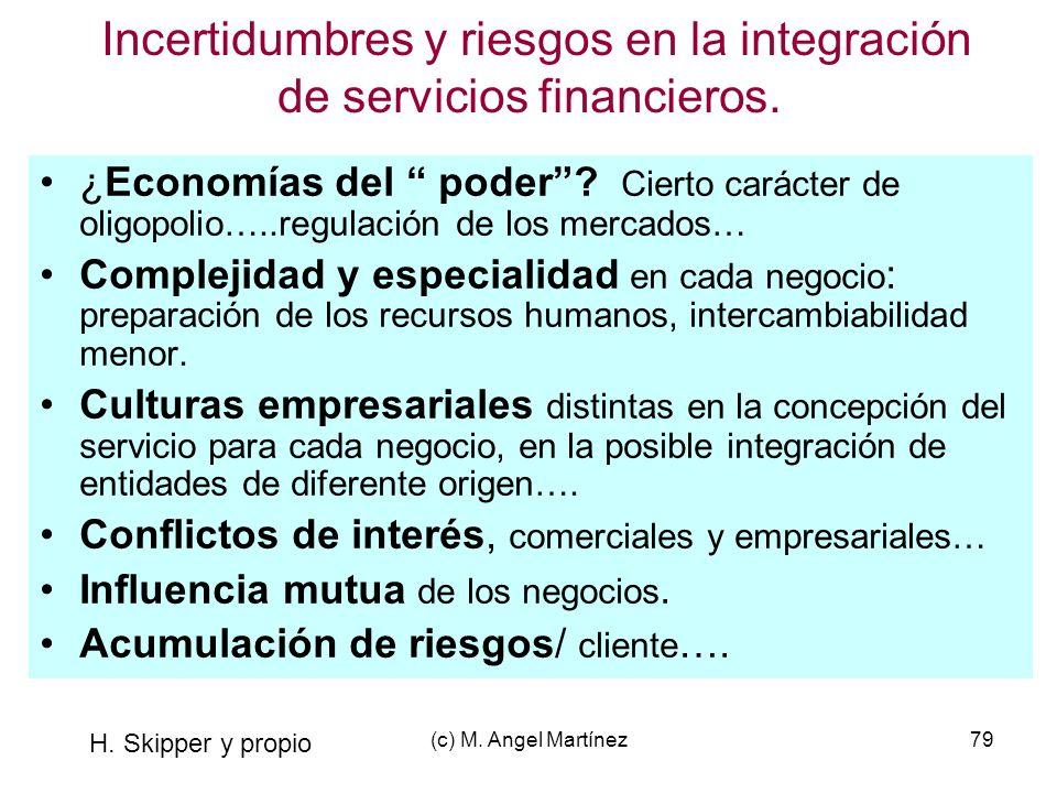 Incertidumbres y riesgos en la integración de servicios financieros.