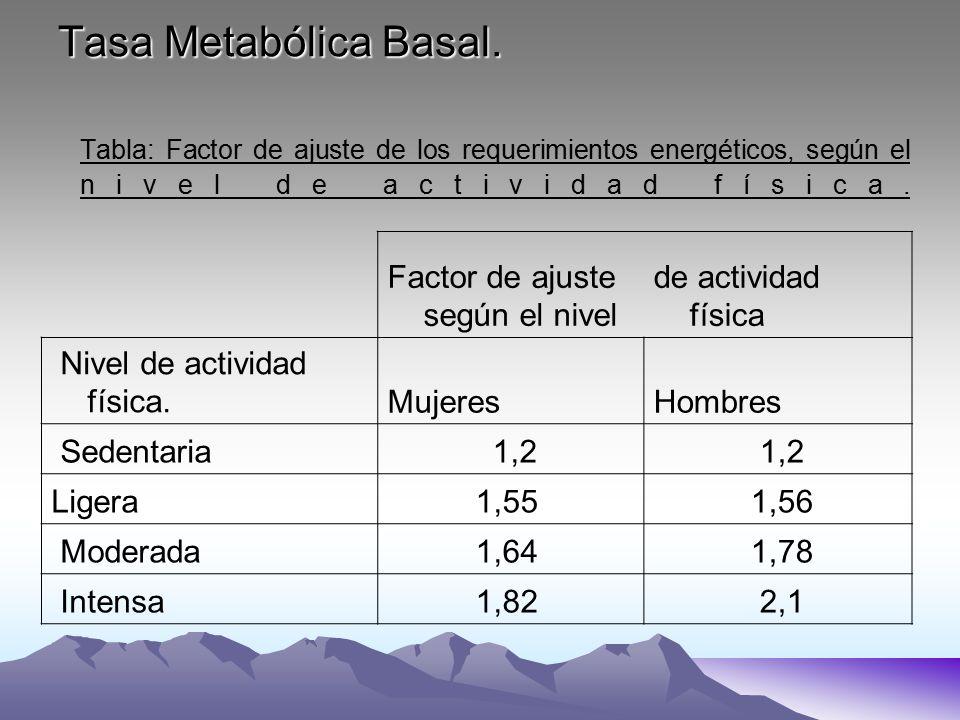 Tasa Metabólica Basal. Tabla: Factor de ajuste de los requerimientos energéticos, según el nivel de actividad física.