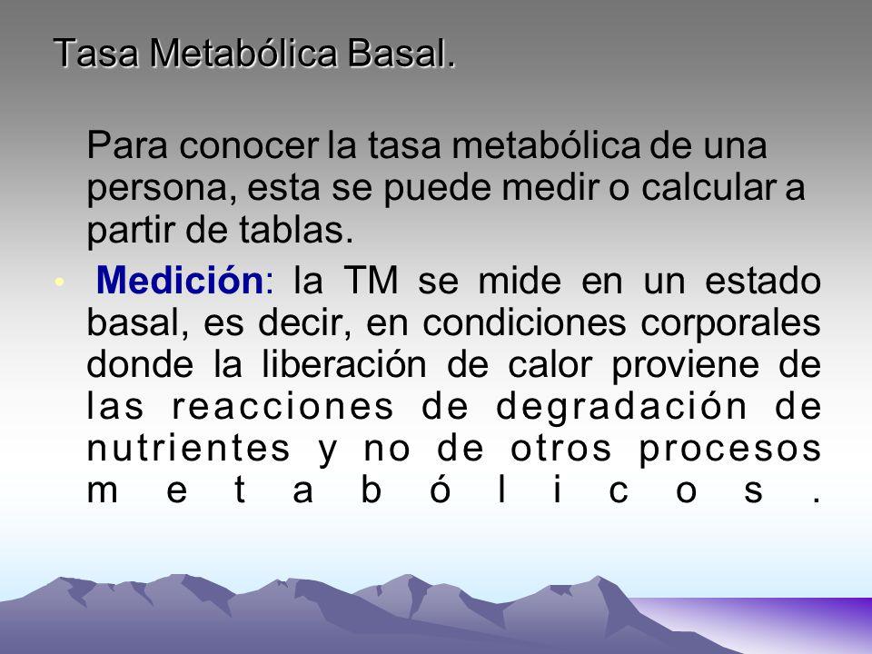 Tasa Metabólica Basal. Para conocer la tasa metabólica de una persona, esta se puede medir o calcular a partir de tablas.