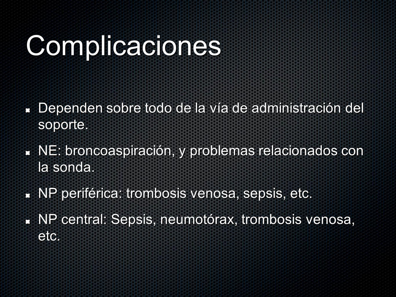 Complicaciones Dependen sobre todo de la vía de administración del soporte. NE: broncoaspiración, y problemas relacionados con la sonda.